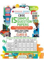 Oswaal CBSE Sample Question Paper Class 12 English Core  For 2020 Exam  PDF