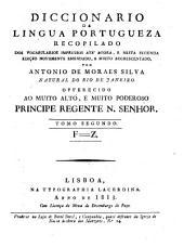 Diccionario da lingua Portugueza: F - Z, Volume 2