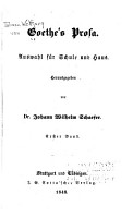 Goethes Prosa  Auswahl f  r schule und haus PDF