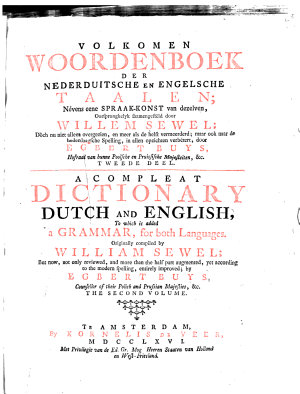 A Compleat Dictionary  English and Dutch  to which is Added a Grammar  for Both Languages PDF
