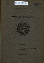 The Baylor Bulletin: Volume 7, Issue 1