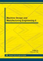 Machine Design and Manufacturing Engineering II PDF