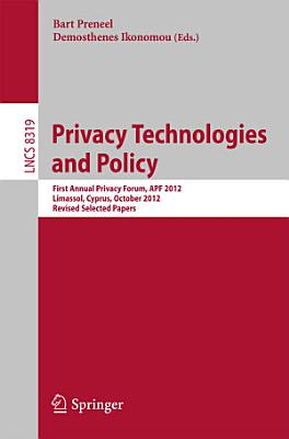 Privacy Technologies and Policy PDF