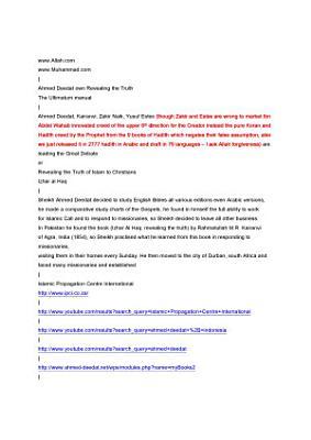 Ahmed Deedat Revealing the Truth the Ultimatum Manual PDF