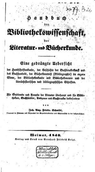 Handbuch der Bibliothekswissenschaft  der Literatur  und B  cherkunde PDF