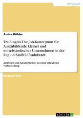 Training-In-The-Job-Konzeption für Auszubildende kleiner und mittelständischer Unternehmen in der Region Saalfeld-Rudolstadt: Analysen und Ansatzpunkte zu einer effektiven Verbesserung