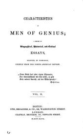 Characteristics of Men of Genius: Sir Walter Scott. Wordsworth. The poets of Germany. Michael Angelo. Canova. Machiavelli. Louis the Ninth. Peter the Great