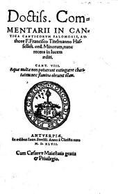 Doctiss. ComMENTARII IN CANTICA CANTICORUM SALOMONIS