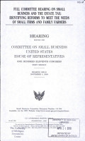 Full Committee Hearing on Small Business and the Estate Tax PDF