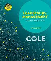 Leadership and Management  Theory and Practice PDF