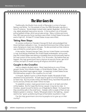 Test Prep Level 6  The War Goes On Comprehension and Critical Thinking PDF