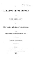 A Catalogue of Books in the Library of the London Mechanics  Institution  etc PDF
