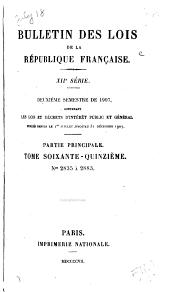 Bulletin des lois de la République franc̜aise: Numéros2835à2883