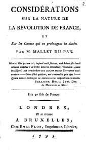 Considerations sur la nature de la revolution de France