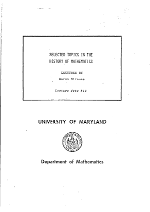 Selected Topics in the History of Mathematics PDF