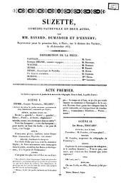 Suzette comédie-vaudeville en deux actes par mm. Bayard, Dumanoir et d'Ennery