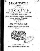 Propositie gedaen by de heer ambassadeur Peckivs, ridder en heer van Bouchoute, cancelier van Brabant, inde vergaderinge vande E. hog. mog. heeren Staten Generael, opten xxiijen maert, met het Antwoordt der hooch-ghemelte Staten, opten xxvijen. maert, 1621: Volume 1