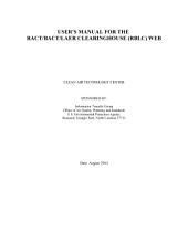 User's Manual for The ract Bact Laer Clearinghouse (rblc) Web V1