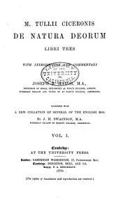 De Natura Deorum Libri Tres: Volume 1
