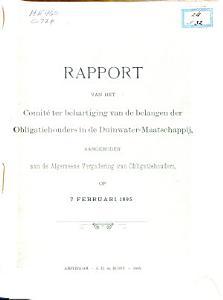 Conrad collection on Dutch waterways  Rapport van het Comite ter Behartiging van de Belangen der Obligatiehouders in de Duinwater Maatschappij  1895  PDF