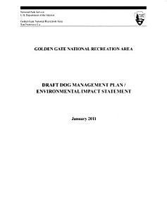 Golden Gate National Recreation Area  N R A    Dog Management Plan Book