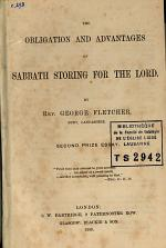 The Obligation and Advantages of Sabbath Storing for the Lord