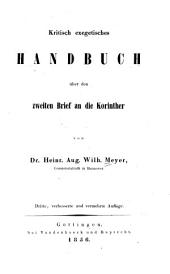 Kritisch exegetisches Handbuch über den ersten Brief an die Korinther