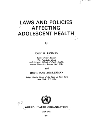 Laws and Policies Affecting Adolescent Health PDF