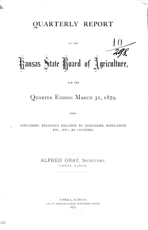 Quarterly Report of the Kansas State Board of Agriculture PDF