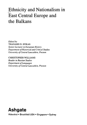 Ethnicity and Nationalism in East Central Europe and the Balkans PDF