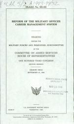 Reform of the Military Officer Career Management System