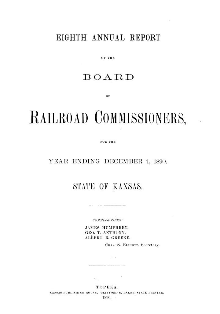 Annual Report of the Board of Railroad Commissioners, for the Year Ending ...