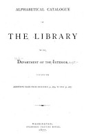 Alphabetical Catalogue of the Library of the Department of the Interior PDF