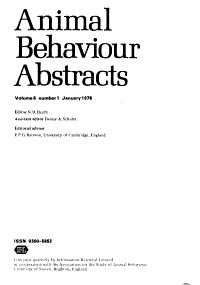 Animal Behaviour Abstracts PDF