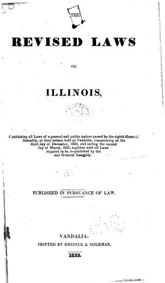 Laws of the State of Illinois Enacted by the General Assembly PDF