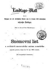 Landtags-Blatt über die Sitzungen des mit dem Allerhöchsten Patente vom ... einberufenen Mährischen Landtages: nach stenographischen Aufzeichnungen. 1866