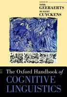 The Oxford Handbook of Cognitive Linguistics PDF