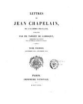 Lettres de Jean Chapelain, de l'Académie française: Partie1