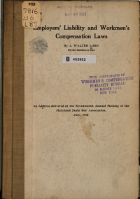 Employers  Liability and Workmen s Compensation Laws