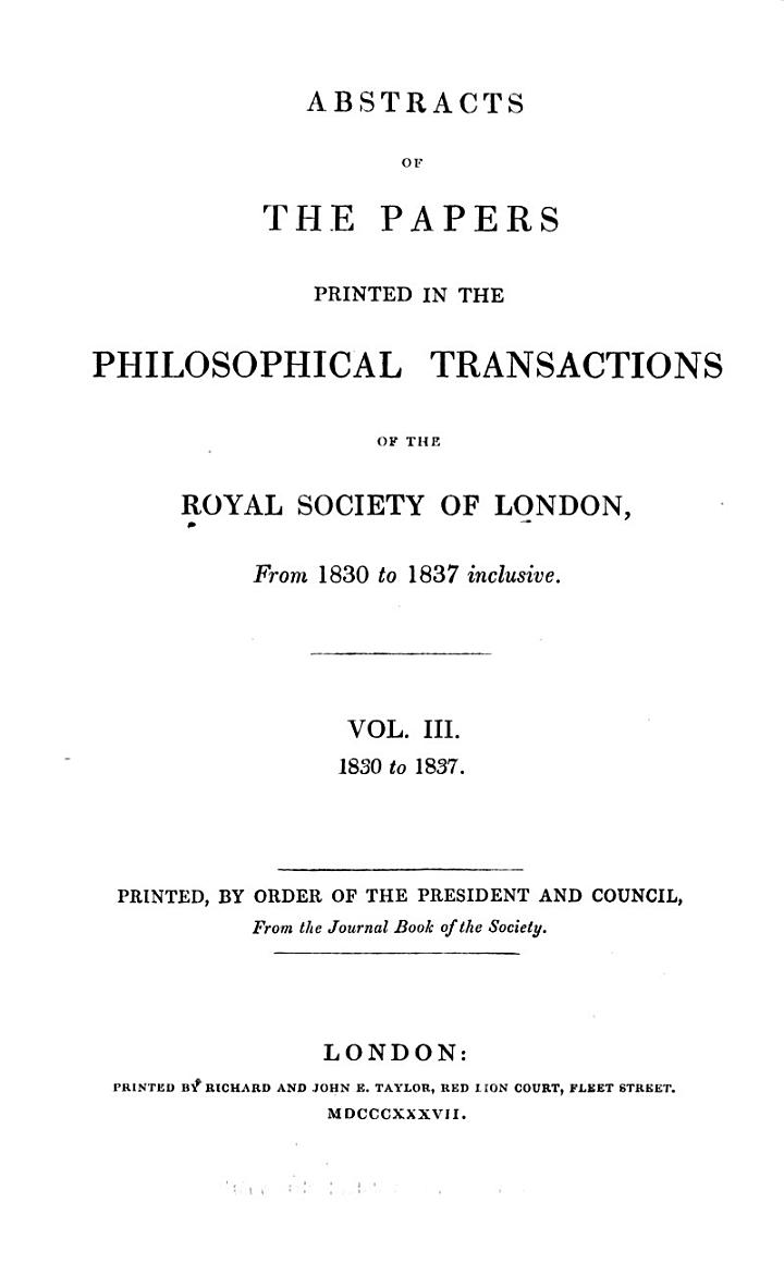 Abstracts of the Papers Communicated to the Royal Society of London