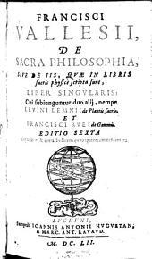 De Sacra Philosophia ... liber