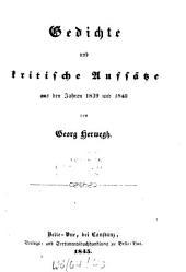 Gedichte und kritische Aufsätze aus den Jahren 1839 und 1840: Teil 1