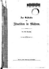 Zur Geschichte der Israeliten in Mähren