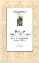 Beyond Form Criticism