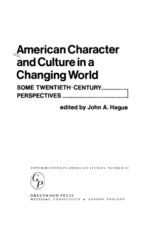 American Character and Culture in a Changing World
