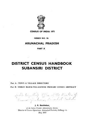 District Census Handbook  Subansiri