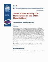 Trade issues facing U S  horticulture in the WTO negotiations PDF