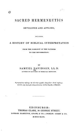 Sacred Hermeneutics Developed and Applied PDF