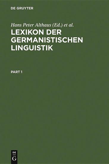 Lexikon der Germanistischen Linguistik PDF