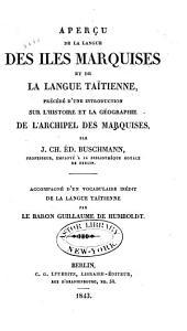Aperçu de la langue des îles Marquises et de la langue taïtienne: précédé d'une introdution sur l'histoire et la géographie de l'archipel des Marquises